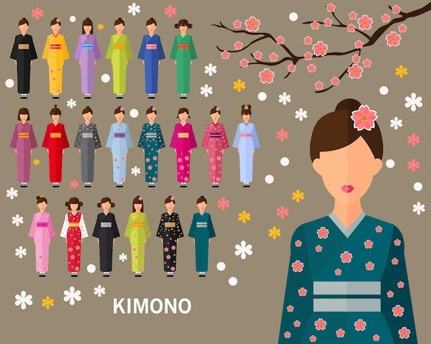 Japan traditionele kimono concept achtergrond. vlakke pictogrammen.