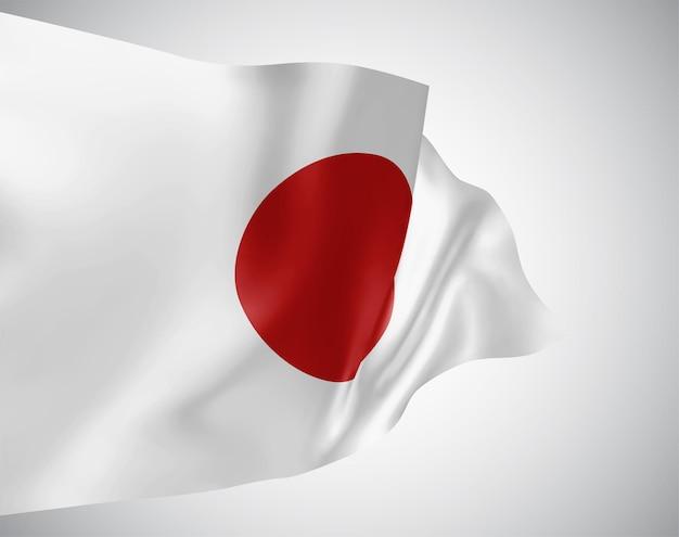Japan, vector vlag met golven en bochten zwaaien in de wind op een witte achtergrond.