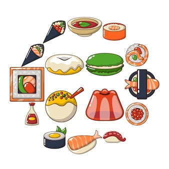 Japan voedsel icon set, cartoon stijl