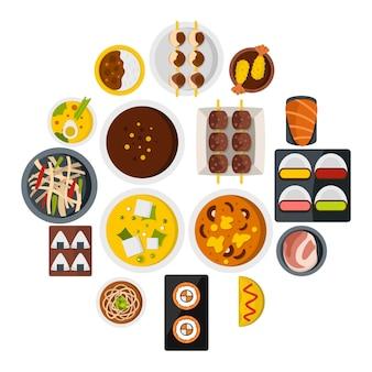 Japan voedsel pictogrammen instellen in vlakke stijl