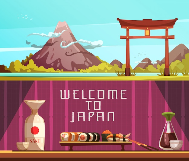 Japan voor reizigers 2 retro beeldverhaal horizontale banners met geïsoleerde pagodefujiberg en sushi