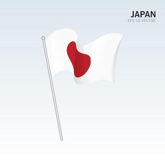 Japan wapperende vlag geïsoleerd op grijs