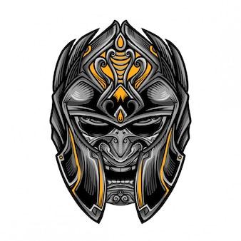 Japan warrior knight mask vector