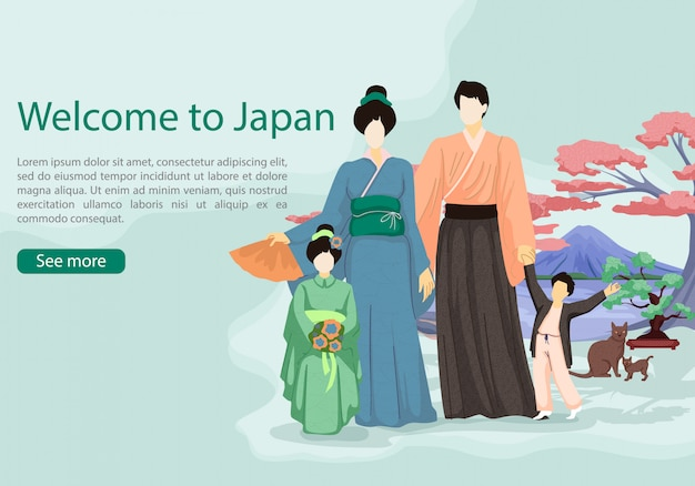 Japanner met meisje en jongen op achtergrond sakura.