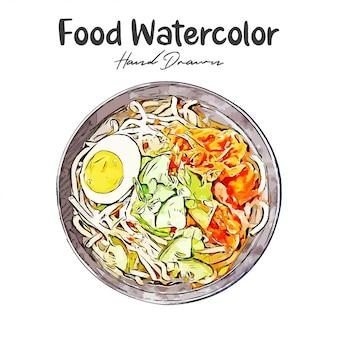 Japans eten aquarel hand getrokken illustratie geïsoleerd witte achtergrond