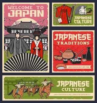 Japans eten, cultuur en religie tradities ontwerp van sushi-broodjes, geisha en samurai met kimono en waaier.