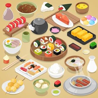 Japans eten eet sushi sashimi roll of nigiri en zeevruchten met rijst in japan restaurant illustratie japanse keuken met stokjes ingesteld op achtergrond