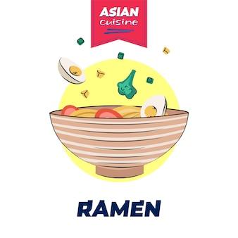 Japans eten ramen kom poster handgetekende ontwerp japan nationale noodle schotel aziatisch café menu