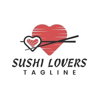 Japans eten sushi liefhebbers logo ontwerp inspiratie
