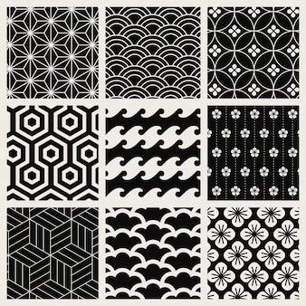 Japans geïnspireerde patroon vector set