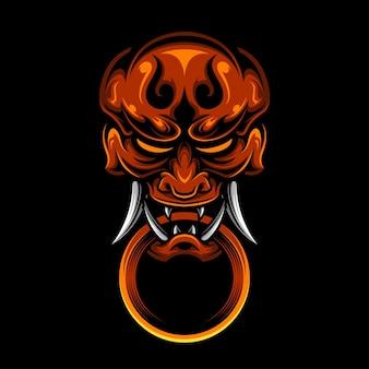 Japans hanya oni-masker met ring premium vectorkunst