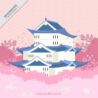 Japans huis achtergrond in de natuur