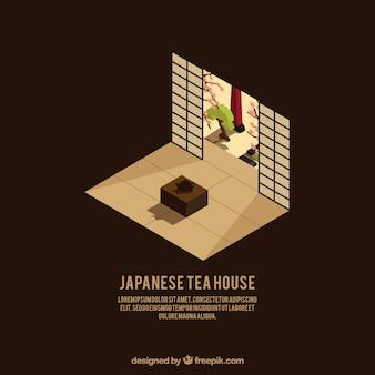 Japans huis in isometrische stijl