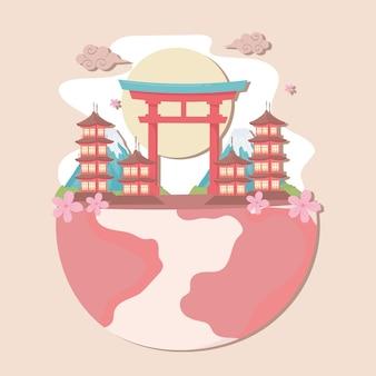 Japans landschap op wereld