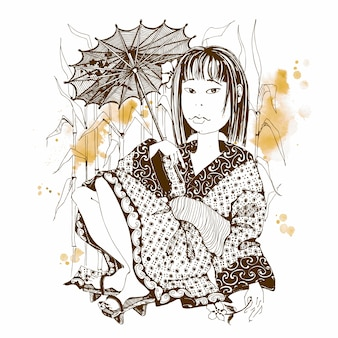 Japans meisje in kimono met paraplu.