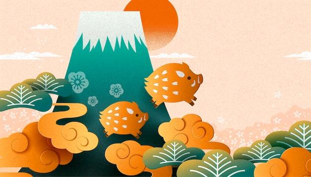 Japans nieuwjaar met zwijnen in papieren kunststijl en fuji-berg