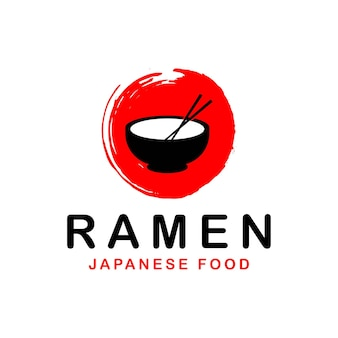 Japans noodle-logo, ramen-logo-sjabloon