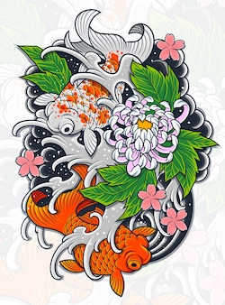 Japans ontwerp van fish tatto