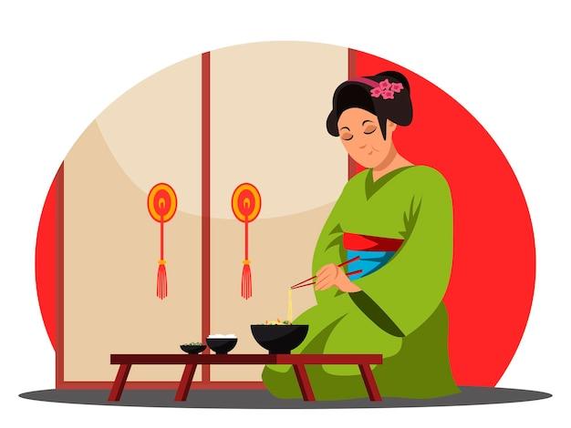 Japans restaurant, karaktervrouw eet noedels en staat op uit de beker