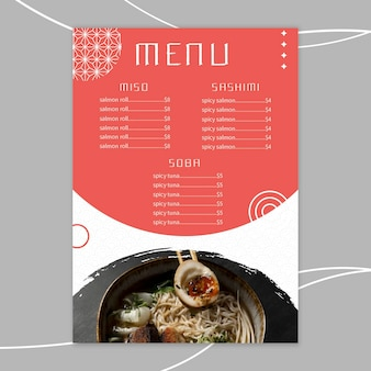 Japans restaurant menusjabloon
