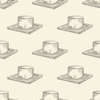 Japans sake cup-naadloos patroon. traditioneel aziatisch de drankglas van de rijstalcohol op houten tribunebehang.