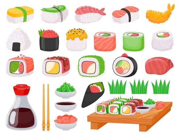 Japans voedselsushi, onigiri, zalmsashimi en sauzen. cartoon garnalen tempura, aziatische eetstokjes, sojasaus, wasabi en gember vector set. oosters traditioneel keuken geïsoleerd assortiment