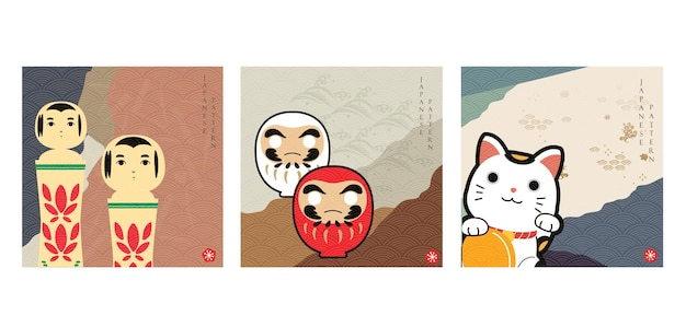 Japanse achtergrond met aziatische pictogramvector. abstract landschapsmalplaatje met hand getrokken golfpatroon in oosterse stijl. gelukspoppetje, wenkende kat, houten pop.