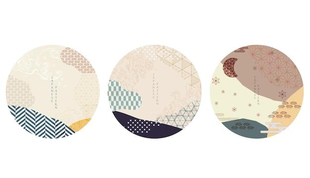 Japanse achtergrondvector. aziatische pictogrammen en symbolen. oosters traditioneel posterontwerp. abstracte patroon en sjabloon. geometrisch element met hand getrokken golf en wolkenvoorwerp.