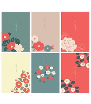 Japanse achtergrondvector. pioen bloem achtergrond. camellia bloemendecoratie met golfpatroon.