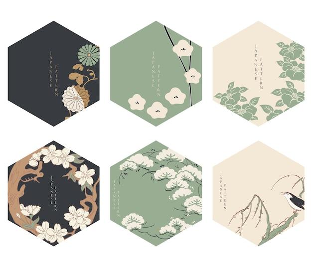 Japanse bloemen achtergrond vector. aziatische pictogrammen en symbolen. vintage traditioneel sjabloonontwerp. abstract patroon en sjabloon. geometrische pictogram en logo ontwerpset met hand tekenen boom-element.