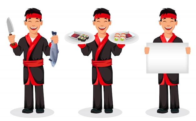 Japanse broodjes van chef-kok kokende sushi