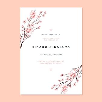 Japanse bruiloft uitnodiging afdruksjabloon