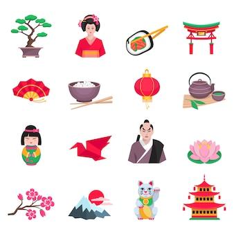 Japanse cultuur plat pictogrammen