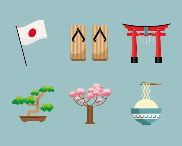 Japanse cultuur set zes pictogrammen