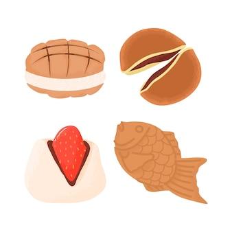 Japanse desserts en zoetigheden behandelen voedsel taiyaki, dorayaki, aardbeienmochi en meloenpan