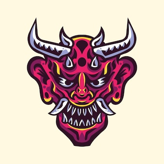 Japanse duivel oni mask illustratie logo