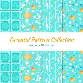 Japanse elementen lichtblauw patronen