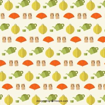 Japanse elementen patroon in plat design