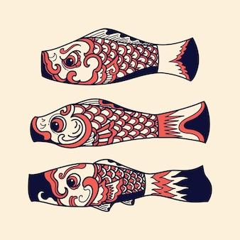 Japanse fish kite-collectie