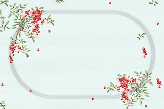 Japanse frame vector koraal berry art print, remix van kunstwerken van megata morikaga