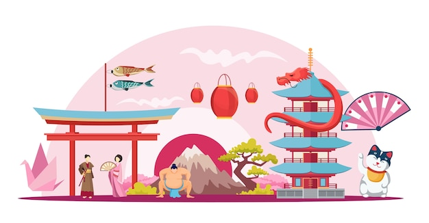 Japanse fuji-berg maneki neko-tempel met pagodesamenstelling itsukushima-schrijn met sumoworstelaar en geisha japan cartoon creatieve horizontale achtergrond