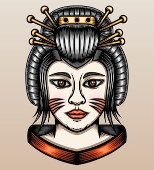 Japanse geisha illustratie.