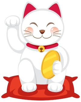 Japanse gelukkige kat maneki neko stripfiguur geïsoleerd