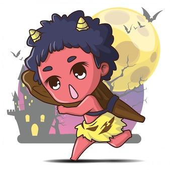Japanse gigantische geest cartoon huishouden goddelijkheid van japanse folk religie halloween concept