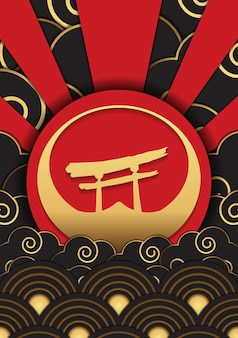 Japanse gouden patroon ontwerp vector