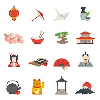 Japanse iconen vlakke set