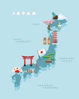 Japanse kaart en pictogrammen