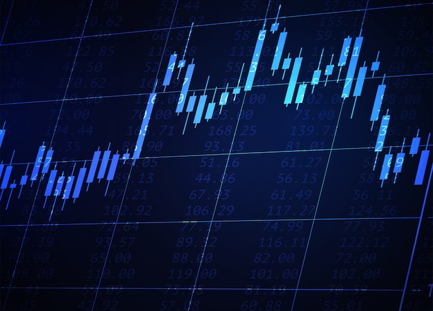 Japanse kandelaargrafiek op blauwe neonachtergrond. financiële marktgegevens