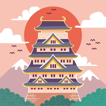 Japanse kasteel illustratie