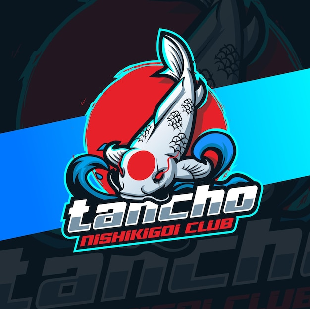 Japanse koi vis logo mascotte ontwerp karakter